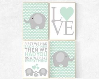 First We Had Each Other, mint nursery decor, elephant Nursery, Nursery Art, Nursery Decor, gender neutral nursery, set of 4, nursery prints