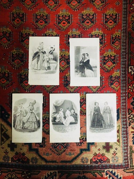 Set of Five Antique Fashion Plates from Columbian Magazine - Set of Five 1846 Black + White Lady's Fashion Prints