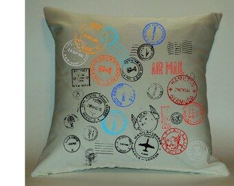 Passport Stamps 18X18 Decorative Pillow Cover