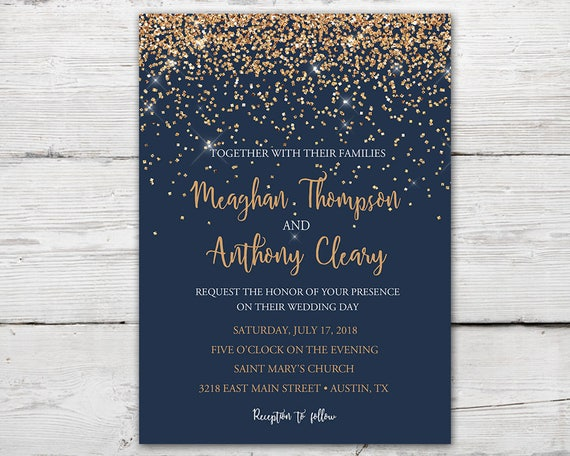 navy and copper wedding invitation set with invitation rsvp insert card and envelopes navy gold wedding invitation navy wedding invite - Navy And Gold Wedding Invitations
