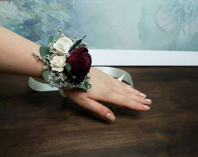 Burgundy wine rose wrist corsage ivory sola flowers preserved eucalyptus dried flowers mother of bride southwestern wedding flower