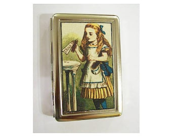 Alice in Wonderland metal wallet retro vintage cigarette case business card holder