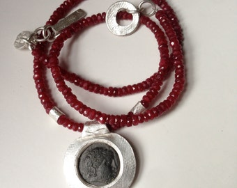 Ancient Coin Jewelry, Greek Coin Necklace, Ancient Coin Necklace,  Ruby Strand Necklace, Ancient Coin Pendant, Greek Coin Necklace