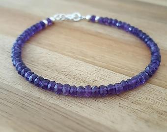 Amethyst Bracelet, Sterling Silver Amethyst Bracelet, Silver Amethyst Bracelet, Bead Bracelet, Dainty Bracelet, February, Gift for Her
