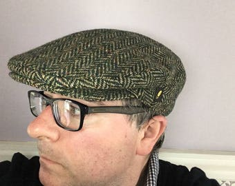 Authentic Donegal Tweed Irish Flat Cap - Herringbone Light Green Cap -Paddy Cap - 100% Irish Tweed Wool - Handmade - Drivers Cap - Golf Cap
