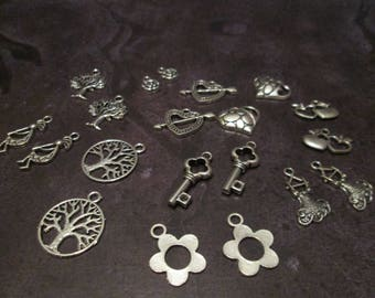 20 silver charms mixed 10 different patterns #A