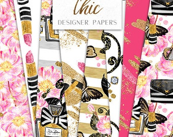 Paris Chic Digital Papers | Make up Perfume lipstick Beaty Fashion Illustration pattern designs | graphics planner stickers resources