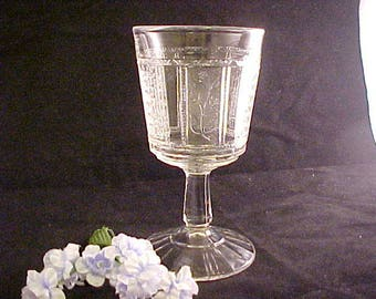 EAPG Paneled Forget Me Not Water Goblet aka Regal, Antique Glassware by Bryce Bros. Circa 1880s, Panelled Forget-Me-Not Pressed Glass