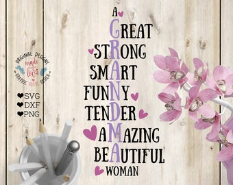 Grandma svg, Mother's Day Cut File in SVG, DXF, PNG, Grandma Cut File, Grandma Acronym Cut File, Grandma Acronym svg Silhouette cameo Cricut