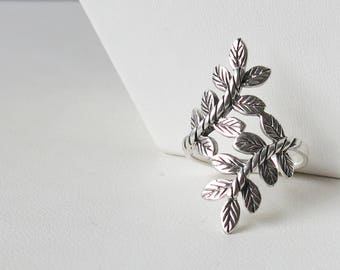 Oxidized sterling silver leaf ring