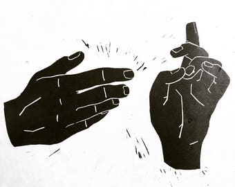 Iconography Hands Linocut Print