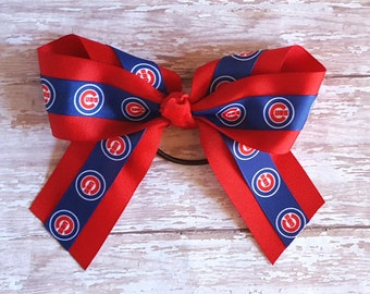 Chicago Cubs Bow/Cubs Ponytail Bow/Girl Chicago Cubs/Hair Bows/Ponytail Holder/Girls Ponytail Bows/Cubs Clip Bow/