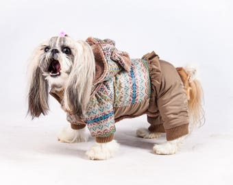 Warm and Cosy Dog Snowsuit with the little frill and cute ears