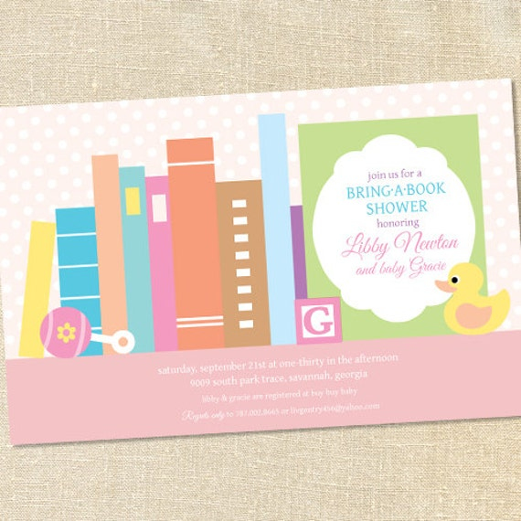 Sweet Wishes Stock the Library Books Baby Shower Invitations