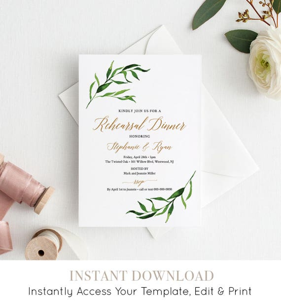 Rehearsal Dinner Invitation, Instant Download, Rehearsal Dinner Printable, Editable Template, Greenery Wedding Invite, Watercolor #013-114RD