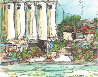 Original Watercolor - Oakland Across the Estuary