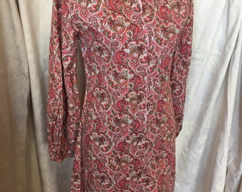 Late 60s pink paisley shirt dress
