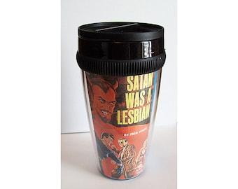 Lesbian pulp travel mug retro vintage 1950s pin up coffee cup paperback art kitsch