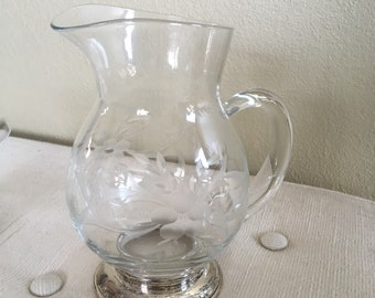 Vintage Etched Crystal and Silver Pitcher and Bowl