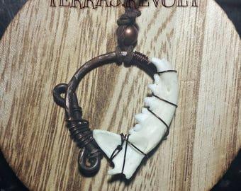 Jaw bone and Copper ring urban primitive talisman pendant