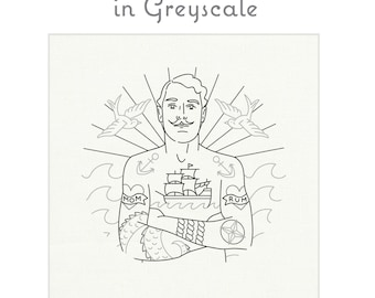 GREYSCALE pre-printed embroidery fabric, hand embroidery, sailor embroidery, modern embroidery design by StudioMME