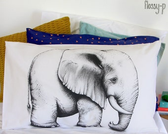 Elephant pillowcase, facing right. Illustrated pillowslip. Australian Gift with original art by flossy-p.