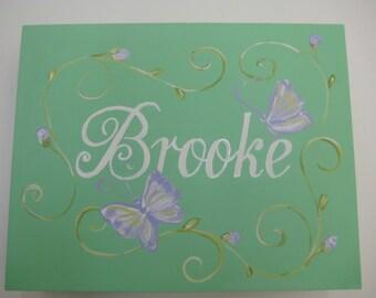 personalized keepsake box,sea foam green,lavender butterflies,roses,personalized gift,personalized gift,girls memory box,kids box,girls box