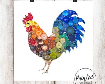 Rooster Art PRINT - Farmhouse Kitchen Decor - Rooster Wall Art Country Home Decor - Rustic Wall Hanging - Housewarming Gift