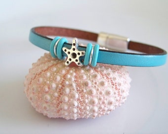 Leather Starfish Focal Bracelet - Item R6266