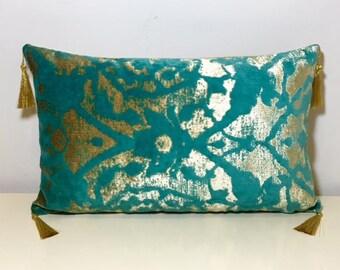 Turquoise Velvet Pillow Cover With Tassel, Turquoise Pillow, 12X20 Velvet Pillow, Throw Pillows, Decorative Pillow, Velvet Cushion Covers