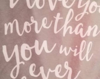 Sweet Pink Quotes Minky Blanket