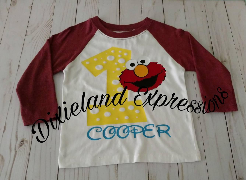 Elmo First Birthday Shirt Baseball Tee Party 2nd