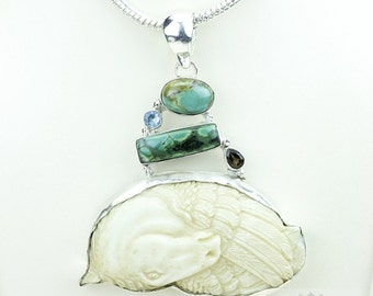 Flipside Pegasus TOTEM Goddess Face Moon Face Bone Carving 925 S0LID Sterling Silver Pendant + 4MM Chain p3908