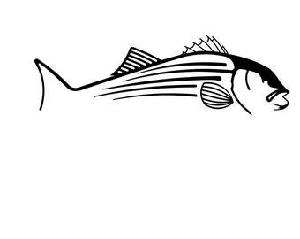 Striped Bass fishing vinyl diecut decal car truck window laptop