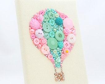 Custom Hot Air Balloon Button Art - Nursery Decor - Whimsical Balloon Art - Baby Shower Gift - Baby's Room Decor - Hot Air Balloon Wall Art