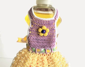 Dish Soap Apron Purple and Yellow, Spring Colors Kitchen Dish Soap Bottle Apron, Retro Kitchen Decor, Country Kitchen Decor