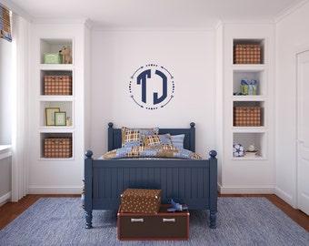 Block Monogram Wall Decal |  Monogram for Boys | Circle Monogram Nursery Decor | Boho Wall Decal