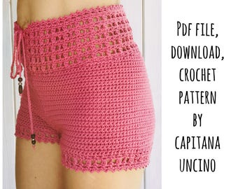 PDF-file for Crochet PATTERN, Leyla Crochet Highwaist Shorts, Sizes XS-L