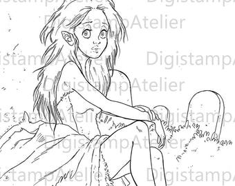 Vampire Girl 2. INSTANT DOWNLOAD Digital Digi Stamps.