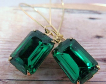 Gold Emerald Earrings Green Earrings Bridal Earrings  Bridesmaid Gift, Emerald Green Earrings Wedding Earrings ~ Angelina Jolie