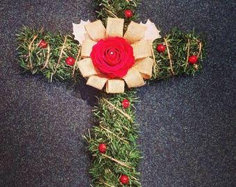 Christmas grave memorial cross 2ft