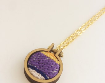Embroidered necklace – purple, yellow and blue – mini embroidery hoop necklace – hand embroidered jewelry – embroidered pendant