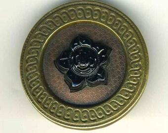 Antique Button Black Glass Flower in Brass, Star Backgrd LRG