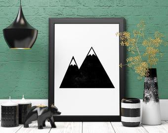 Monochrome Mountains, Minimalist Print, Geometric Art, Wall Art Print, Mountains Art, Printable Art, Wall Decor, Instant Download, Landscape