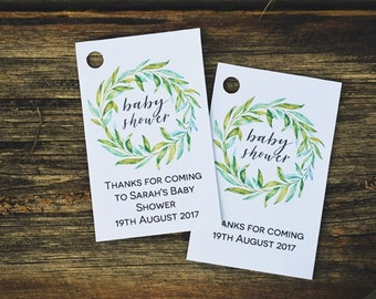 Green Wreath Baby Shower Tags, Editable Favor Tags Template, Boho Baby Shower Printable PDf, Instant Download
