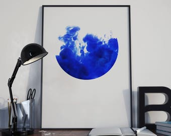 A3 Watercolour Bright Blue Splash Circle Print Poster, Home Decor, Wall Art