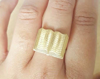 Book ring, statement ring, gold ring, book statement ring, brass ring, book lover gift, gold book ring, novelty ring, teachers gift