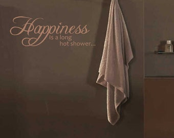 Happiness Is A Long Hot Shower Wall Sticker Quote Decal Adhesive Words Bathroom | WQ85