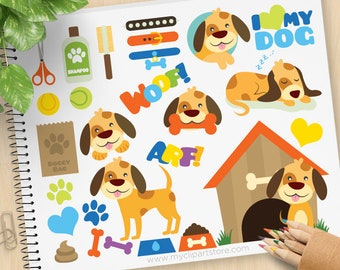 My Little Doggy, Puppy Dog Clipart, pet store, dog grooming service, dog house, pet shop, Commercial Use, Vector clip art, SVG Files