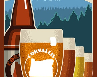 Corvallis, Oregon - Beervana (Art Prints available in multiple sizes)